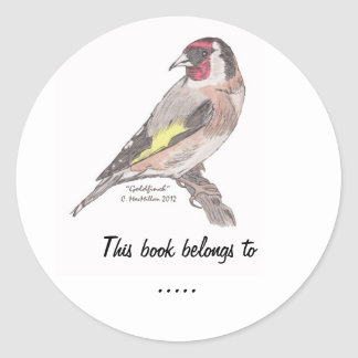 Goldfinch Book Plate Label Round Stickers