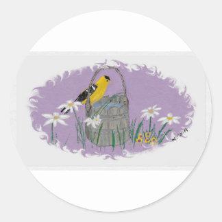 Goldfinch con las tarimas etiqueta redonda