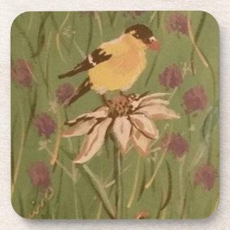 goldfinch drink coaster