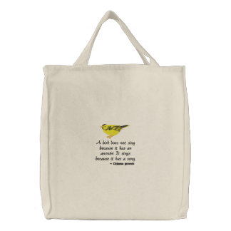 Goldfinch Embroidered on Tote Bag