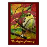 Goldfinch en acción de gracias del otoño tarjetón