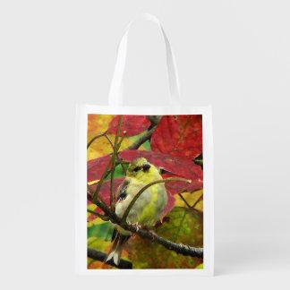 Goldfinch en otoño bolsa de la compra