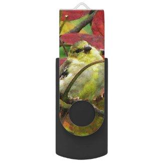 Goldfinch in Autumn Swivel USB 2.0 Flash Drive