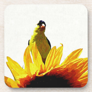 Goldfinch on the sunflowers coaster
