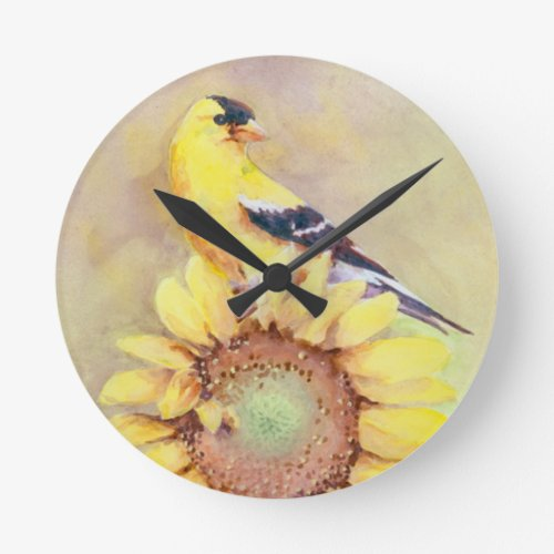 GOLDFINCH & SUNFLOWER by SHARON SHARPE Round Clock