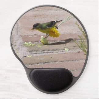 Goldfinch Tearing a Flower Gel Mouse Pad