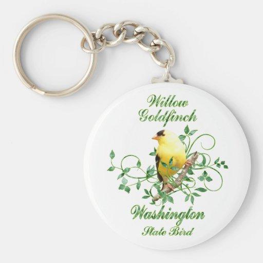 Goldfinch Washington State Bird Basic Round Button Keychain