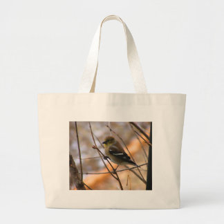 Goldfinch Watercolor Large Tote Bag