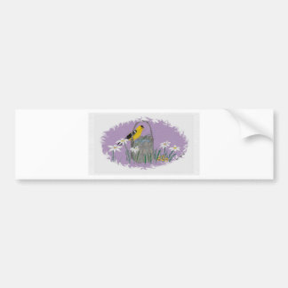 Goldfinch with Daises Bumper Stickers