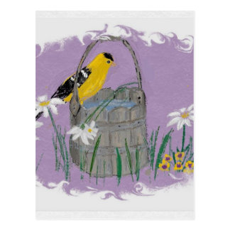 Goldfinch with Daises Postcard