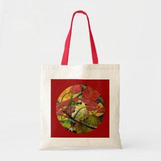 Goldfinch y hojas de otoño bolsa tela barata
