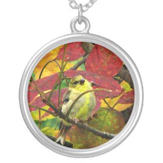 Goldfinch y hojas de otoño joyerias