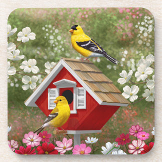 Goldfinches and Cute Cottage Birdhouse Beverage Coaster