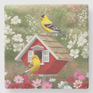 Goldfinches and Cute Cottage Birdhouse Stone Coaster