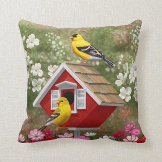 Goldfinches and Cute Cottage Birdhouse Throw Pillow
