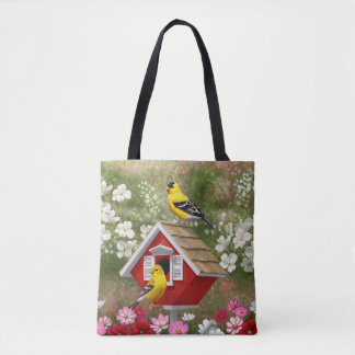 Goldfinches and Cute Cottage Birdhouse Tote Bag