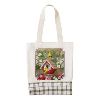 Goldfinches and Cute Cottage Birdhouse Zazzle HEART Tote Bag