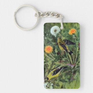 Goldfinches and Dandelions Keychain
