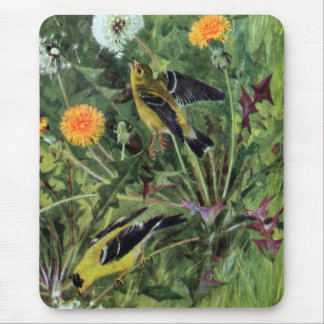 Goldfinches and Dandelions Mouse Pad
