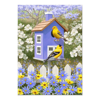 Goldfinches and Fancy Purple Birdhouse Card