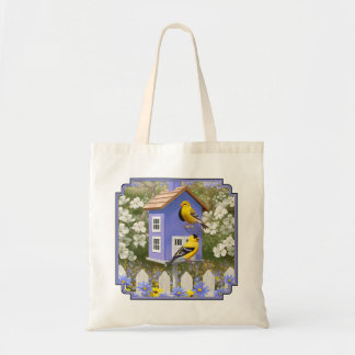 Goldfinches and Fancy Purple Birdhouse Tote Bag