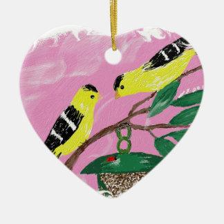 Goldfinches at feeder ceramic ornament