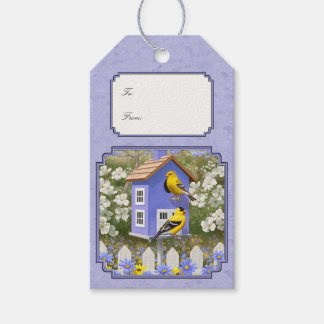 Goldfinches & Cute Birdhouse Lavender Gift Tags