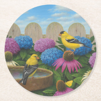 Goldfinches Round Paper Coaster