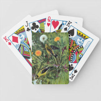 Goldfinches y dientes de león baraja cartas de poker