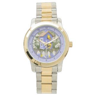 Goldfinches y lavanda linda del Birdhouse Reloj De Mano
