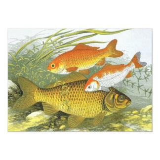 """Goldfish acuático Koi, pescado marino del vintage Invitación 5"""" X 7"""""""