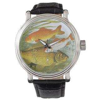 Goldfish acuático Koi, pescado marino del vintage Reloj De Mano