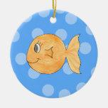 Goldfish. Adorno Navideño Redondo De Cerámica