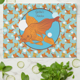 Goldfish and Bubbles Graphic Pattern Personalized Towel