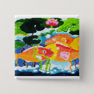 Goldfish and waterlily button