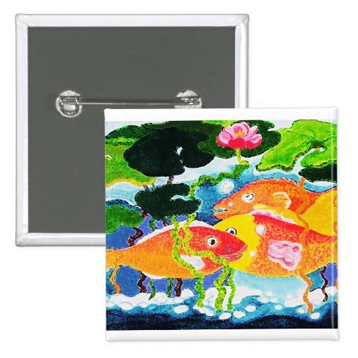 Goldfish and waterlily pinback buttons