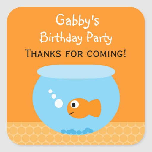 Goldfish Birthday Party Favor Stickers