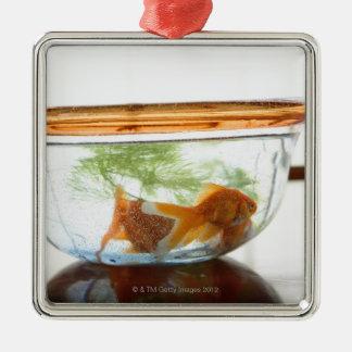 Goldfish bowl metal ornament