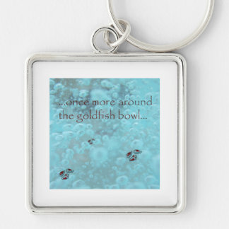 Goldfish Bowl Silver-Colored Square Keychain