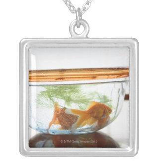 Goldfish bowl square pendant necklace