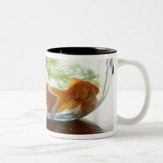 Goldfish bowl Two-Tone coffee mug