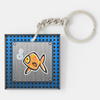 Goldfish; Brushed metal-look Keychain