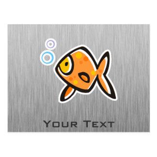 Goldfish; Brushed metal-look Postcard