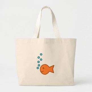 Goldfish Bubbles Large Tote Bag