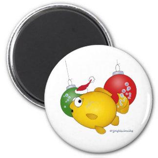 Goldfish Christmas flatus event! 2 Inch Round Magnet
