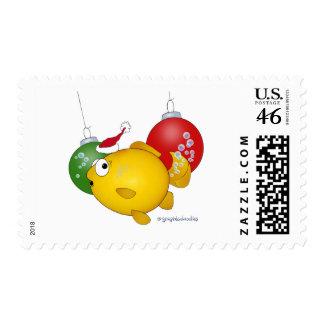 Goldfish Christmas flatus event Postage Stamp