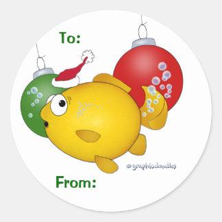 Goldfish Christmas flatus event Round Sticker