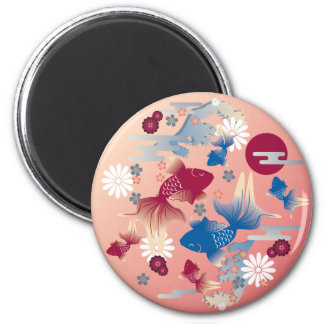Goldfish Colorful 2 Inch Round Magnet