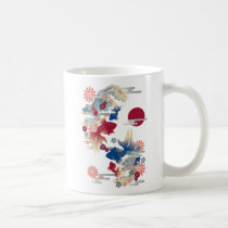 japanese, oriental, asia, beautiful, cute, cool, culture, traditional, fish, flower, blossom, sakura, kingyo, goldfish, spring, new, year, pink, blue, china, chinese, Caneca com design gráfico personalizado