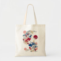 japanese, oriental, asia, beautiful, cute, cool, culture, traditional, fish, flower, blossom, sakura, kingyo, goldfish, spring, new, year, pink, blue, china, chinese, Bag with custom graphic design